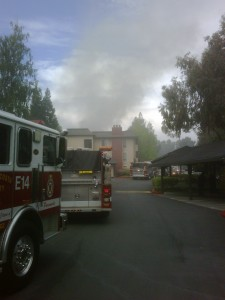 The scene as viewed from behind the line of engines at Muirwood Apartments